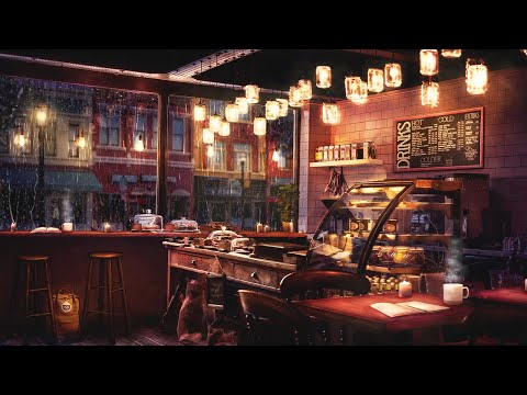 Rainy Night Coffee Shop Ambience with Relaxing Jazz Music and Rain Sounds – 8 Hours