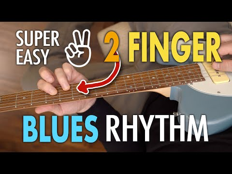 Super easy, 2 finger blues rhythm – Perfect for comping – Easy blues guitar lesson