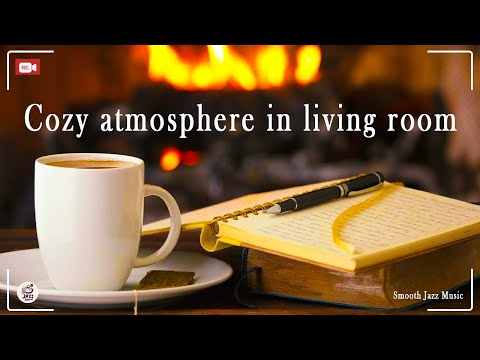 Cozy atmosphere in living room with relaxing Jazz music, rain sounds and fireplace | 24h